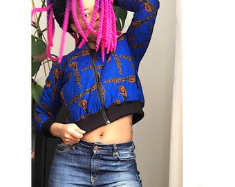 Bomber jacket in afroprint