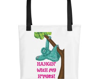 Teal Sloth Hangin with my homies  purse, carry on, diaper bag, Tote bag