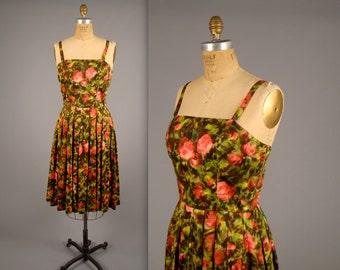 1950s watercolour floral cotton day dress • vintage 50s summer dress •  pink and green sundress