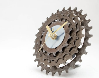 Bicycle Clock, Unique Desk Clock, Industrial Desk Clock, Small Desk Clock, Father Gift, Boyfriend Gift, Husband Gift, Unique Gift, Dad Gift