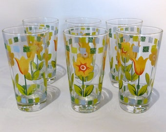 Set of 6 vintage floral glasses with yellow and green design