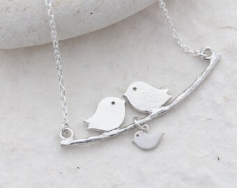 Sterling silver Love birds necklace & sterling silver chain, New mom necklace, Baby shower jewelry, couple and baby Family Necklace, new mom