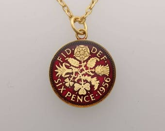 1956 Sixpence - Enamelled Coin Necklace