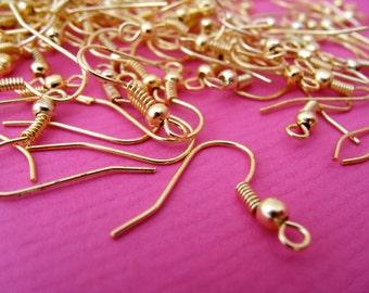100 pcs 18mm Golden Earring Hooks, Nickel Free
