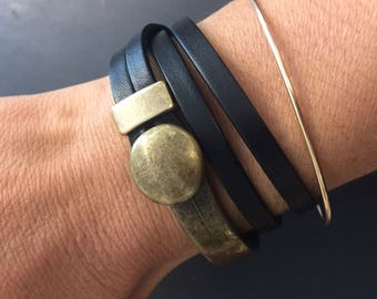 Black leather wrap bracelet with antique button and loop closure