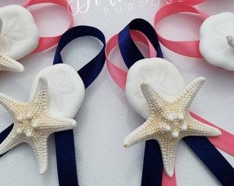 Starfish & Sea Biscuit Boutonniere, Beach Boutonniere, Coastal Nautical Wedding Boutonniere, Beach Groomsmen, Starfish Pin, Mermaid Wedding
