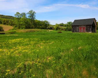Vermont Red Barn Photography, Landscape, Farm Decor, Old Red Barn, Farm Photo, Rustic, Country, Nature, Home décor, Print, Spring, Fine Art