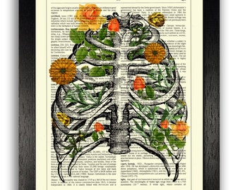 Art Print, Rib Cage Anatomy with Orange Flowers, Anatomical Floral Collage Printed on Dictionary Book Page, Wall Decor Art