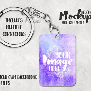 Rectangle hard board MDF sublimation keychain Mockup Template | Add your own image and background
