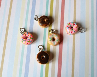 Realistic, miniature donut on a charm, cellphone strap or necklace