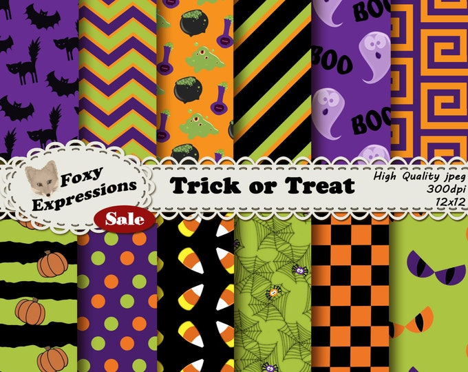 Trick or Treat Digital Paper pack comes with candy corn, ghosts, black cats, bats, monster eyes, spiders, webs, poison, cauldrons & the blob