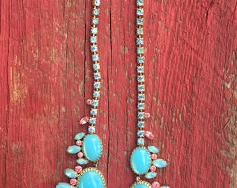 Stunning Opalescent Blue and Pink Stone Necklace