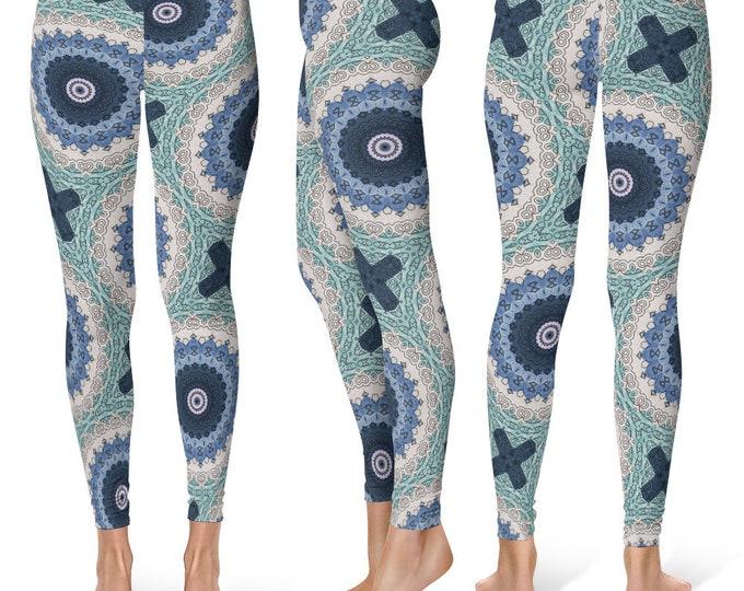 Ocean Blue Leggings Yoga Pants, Mandala Printed Yoga Tights for Women, Festival Clothing, Burning Man