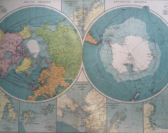 1920 The Polar Regions mercantile marine map - arctic - antarctic - extra large original vintage map - 29.5 x 20.5 inches