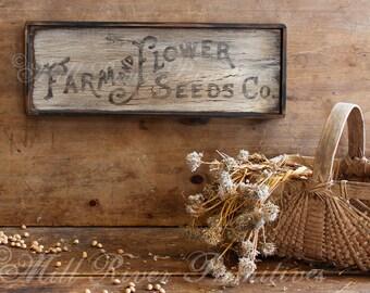 Primitive Aged Farm & Flowers Seeds Co. Wood Sign