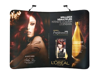 10ft Backdrop Curved & Collapsible Tension Fabric, Backwall Display, Trade show, incl. full color custom with Graphic  print, transportbag,