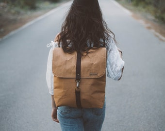 Leather backpack, kraft backpack, brown cloth backpack, backpack, backpack, kraft backpack, handbag,