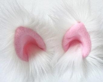 White animal ear hair clips with pink fleece clip on cat ears, cat ear hair clips
