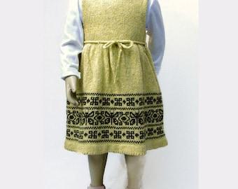 Knit Wool Tweed  Dress or Pinafore for  Toddler Girl  - Jacquard/Fair Isle - Folk Art
