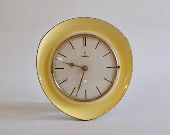Vintage Ceramic Wall Clock / Mid century Kitchen Clock / Junghans / 50s  Germany / Yellow