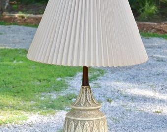 Vintage Ceramic and Teak Table Lamp Leaf Design Mid Century MCM  Period Lighting PanchosPorch