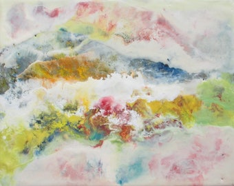 Abstract painting, abstract landscape, encaustic painting, mountain landscape, smoky mountains