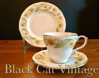 Set, of 6, Vintage, English, Bone, China, Duchess, Greensleeves, trios, 1960's, Retro, Tea, cups, saucers, Plates