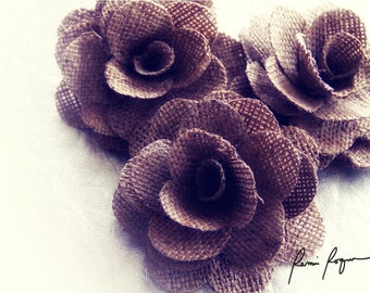 Burlap Roses - Two Dozens-   Rustic Eco-friendly Flowers Made of Burlap
