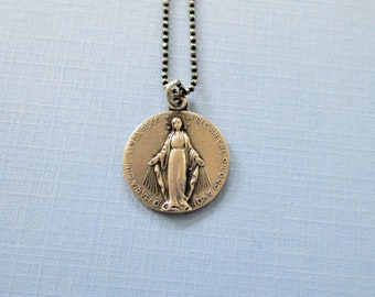 Antique Silver Miraculous Medal - Virgin Mary Pendant - French Religious Medal - Pendant Necklace - Religious Jewelry - Catholic Gift
