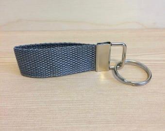 Grey mini key ring - key fob - key ring wristlet - key fob wristlet - gift for men