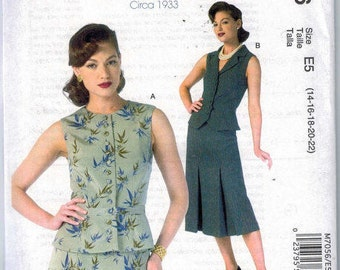 Retro 1930s women's vest pattern with peplum McCalls Archive Collection 1933 uncut and factory folded
