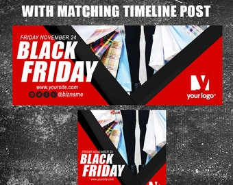 Black Friday Facebook Fan/Business Cover with Matching Timeline Post
