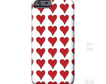 Red Hearts, iPhone 7 Case, hearts iPhone case, iPhone 7 plus case, iphone 8 case, Art, iPhone 6s case, iPhone 5S case, iPhone 8 Plus case