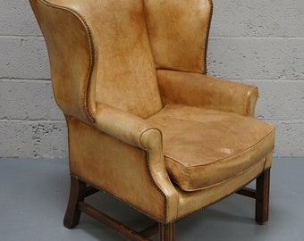 Vintage Tan Leather Wing Armchair