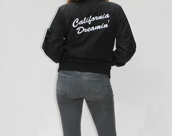 California Dreaming Embroidered Bomber Jacket | Custom Bomber Jacket |  Black Bomber Jacket | Custom Quote