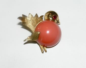 NAPIER Cute Bird Figural Pin with Coral Colored Glass Cabochon