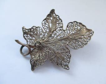 Vintage Sterling Silver Filligree Leaf Brooch, Silver Filligree Pin, Silver Filligree Jewellery, Silver Wirework, Telkari