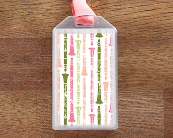 Musical Instrument Case ID Luggage Tag for Clarinet - Pink and Green