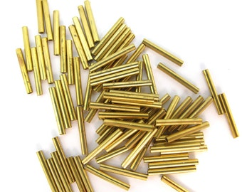 Vintage Brass Tube Beads (72x) (V366-A)