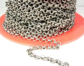10ft 4.6mm Etched X Rolo Chain - Antique Silver - 4.6mm Links - CH93