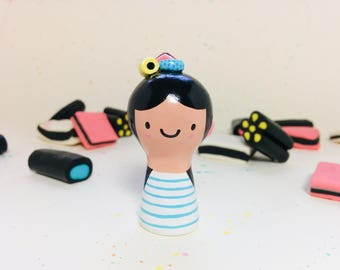 Candy Licorice Girl Figurine - Collectible Miniature Clay Figure