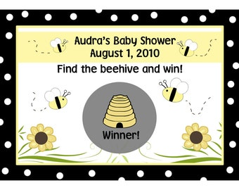24 Personalized Baby Shower Scratch Off Game Cards  Baby Bee Design - Polka Dot
