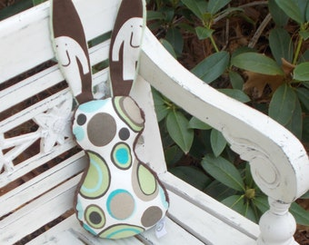 Blue and Green Bits The Bunny Plush Rattle