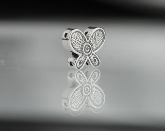 Pair 13mm Sterling Silver Butterfly Spacer Beads Three Strand Set of 2