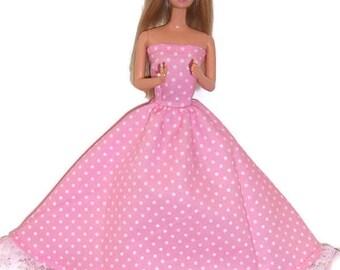Fashion Doll Clothes-Pink Polka Dot Strapless Dress