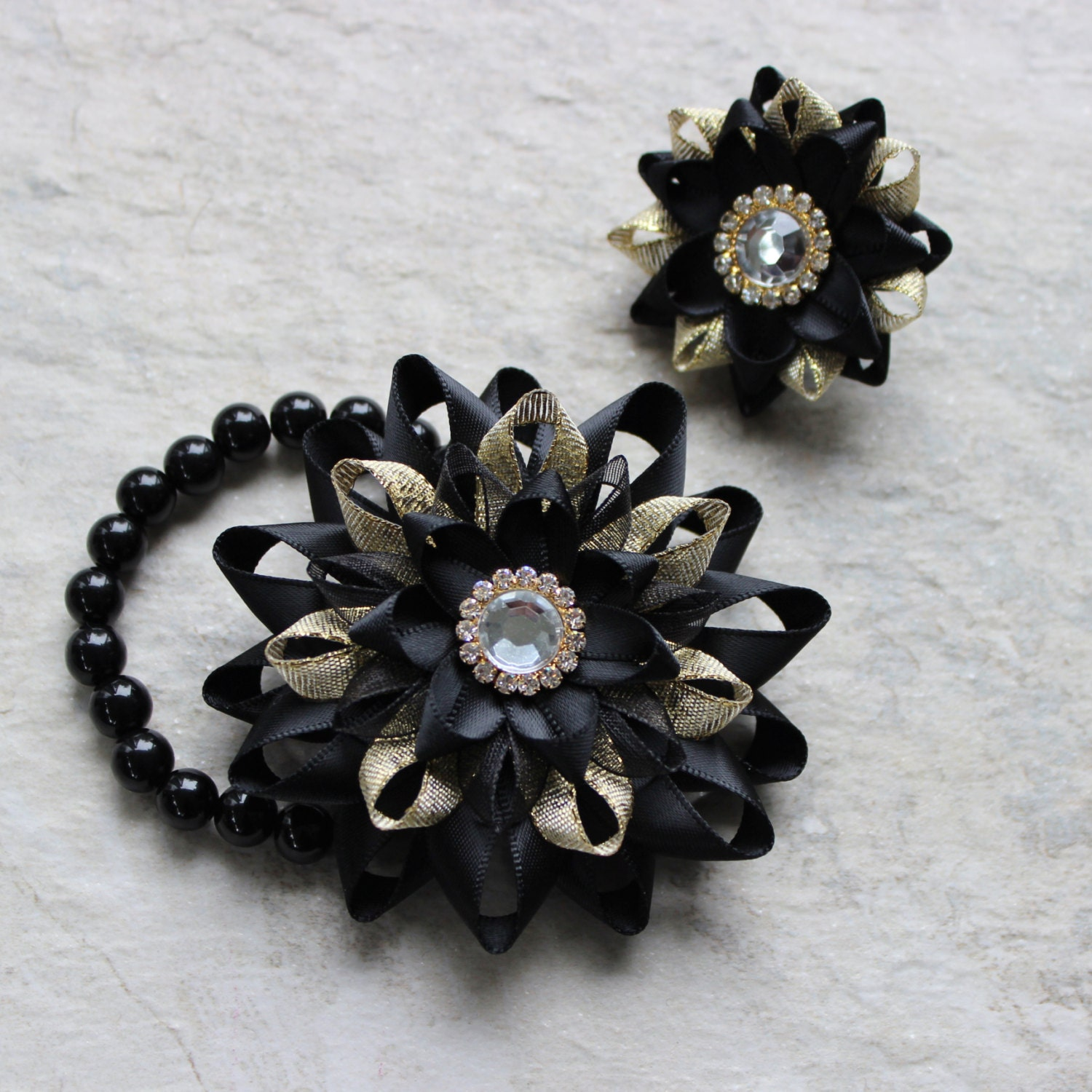 Prom Corsage And Boutonniere Black And Gold Corsage Wrist Corsage
