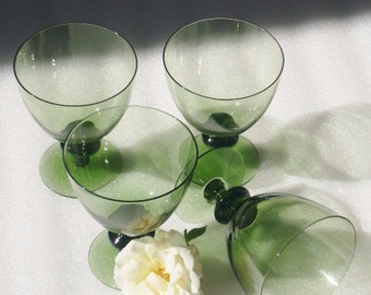 Orrefors Swedish Crystal Water Glasses Disc Stemware Green