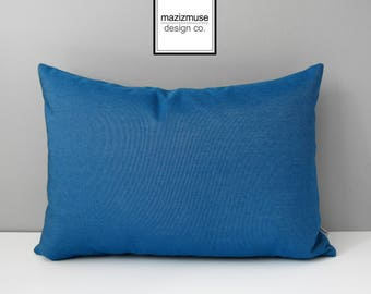 Regatta Blue Sunbrella Outdoor Pillow Cover, Decorative Pillow Case, Modern Nautical Cushion Cover, Denim Blue Pillow Cover, Mazizmuse