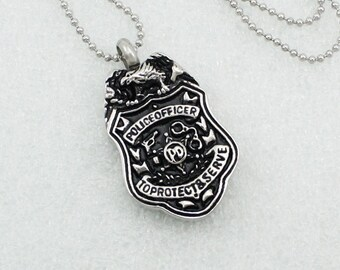 Police Officer Urn Necklace | Cremation Ashes Jewelry | Remembrance Urn Charm Necklace