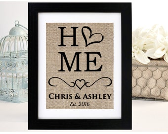 Wedding Gift, Anniversary Gift, Personalized Housewarming Gift, Burlap Print, First Home Gift, New Home Gift, Bridal Shower Gift, Bride Gift
